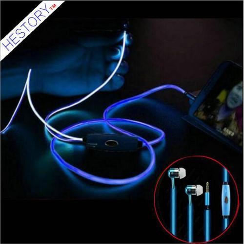 Free shipping 10 pcs /lot hot selling  Luminous headset factory wholesale metal ear type EL cold light  bass  earphone