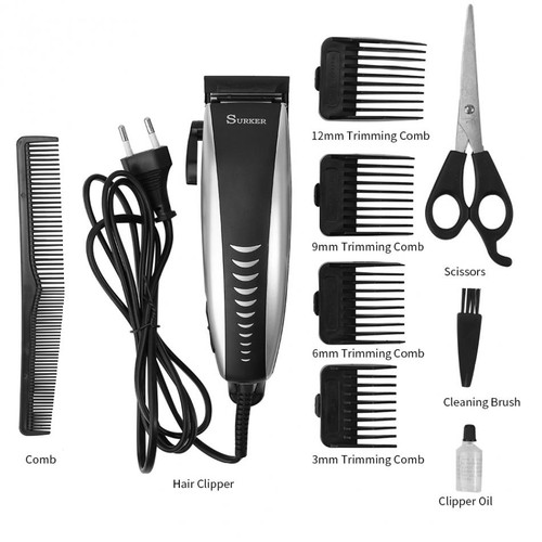 SURKER Professional Electric Hair Clipper Men Kids Hair Trimmer Attachment Combs Barber Home Beard Hair Cutting Clipper Machine