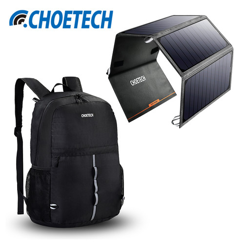 CHOETECH 24W Portable Solar Power Bank with Backpack Kit Solar Panel Phone Charger Dual USB Charging for Samsung iPhone Xiaomi