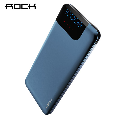 ROCK Quick Charge Power Bank 10000 mAh Slim Portable Full Capacity Powerbank For Phone With USB Charger Phone Charger