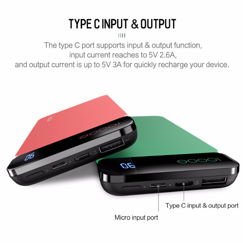 ROCK Ultra-thin 10000 mAh Power Bank Slim Portable Full Capacity Powerbank With USB Charger Phone Charger For Xiaomi Phone