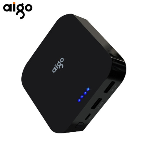 Aigo Mini Real Capacity 10000mAh Powerbank 3.7V LED Indicator Large Battery Power Pank Dual USB Port Mobile Charger for Iphone