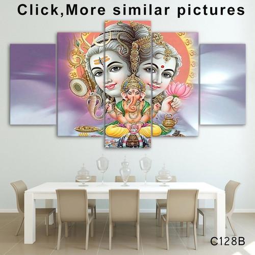 HD Printed 5 Piece Canvas Art hindu god canvas Lord shiva parvati ganesh painting