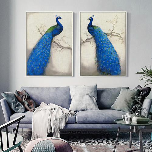 New Chinese Picture Animal Blue Peacock A4 Canvas Painting Art Print Poster Picture Wall Paintings Home Decoration Wall Decor