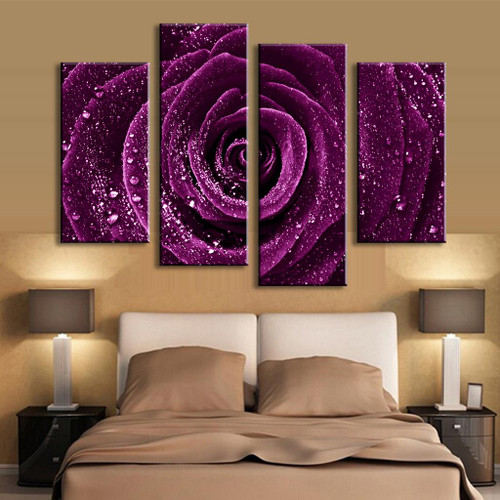 4 Pcs/Set Combined Flower Paintings Purple Rose Modern Wall Painting Canvas Wall Art Picture Unframed Canvas Painting,