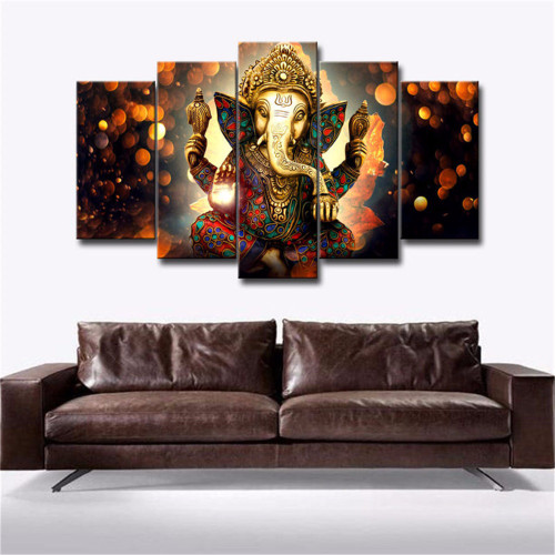 5pcs/set Waterproof Canvas Painting Elephant Trunk God Ganesha HD Print Home Wall Hanging Art Prints Pictures Modular Poster