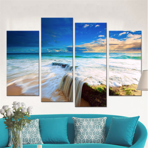 Rapid Water Canvas Set Wall Modular Pictures for Living Room Home Decor Wall Art Canvas Sea Printed Painting Drop Shipping