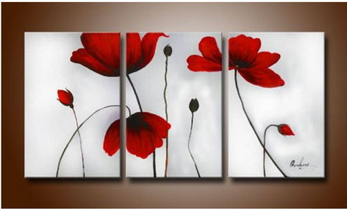Free shipping 3 pieces fresh red poppy flowers oil painting canvas set home decor at factory price