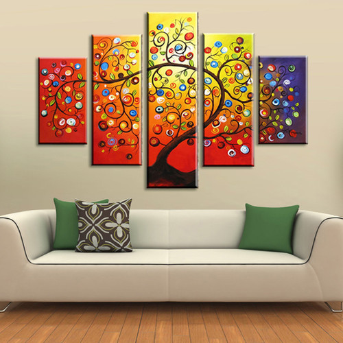 Hand Painted Art Set canvas Wall Picture Home Decoration Oil Painting on canvas 5 Piece Canvas Art  Framed Money tree