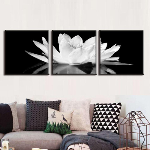 3 Pcs/Set Canvas Print Flower White Lotus In Black Wall Art Picture with Frame Modern Wall Paintings