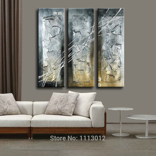 Hand Painted Modern Abstract Oil Painting Knife Wall Art Canvas Set 3 Panel Home Decoration Art Picture For Kitchen Living Room