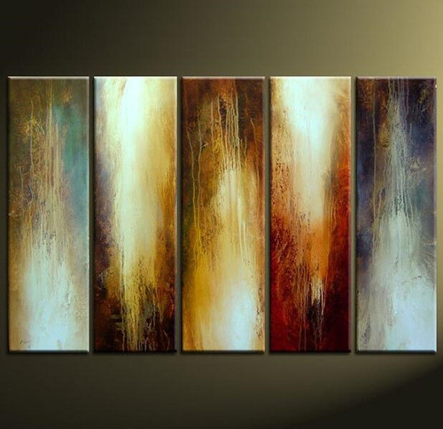 100% Handpainted Abstract Home Decoration 5 Panel Oil Painting Modern Canvas Set Indoor Parlor Wall Art Picture Paintings