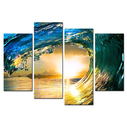 4 Pcs/Set Modern Canvas Art Rocky Sea Canvas Wall Picture Decoration Home Modern Canvas Combined Paintings Art Prints,