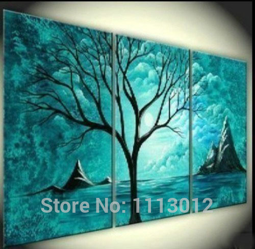 Hand Painted Abstract Home Decoration 3 Panel Landscape Tree Oil Painting Modern Canvas Set kitchen Wall Picture For Living Room