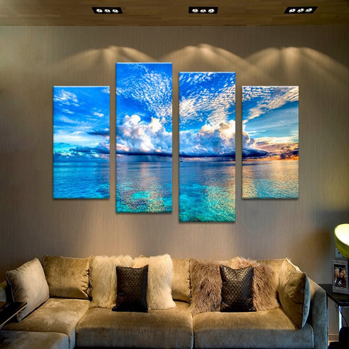 4 Pieces/set Canvas Print beautiful ocean sunset  Wall Art Picture Paintings Modular Picture For Living room