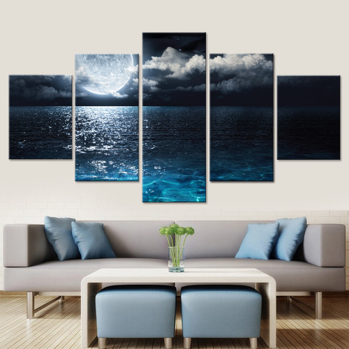 Sea Moon Canvas Set Canvas Prints Wall Artwall Modular Pictures for Living Room Printed Painting Wall Art Poster Drop Shipping