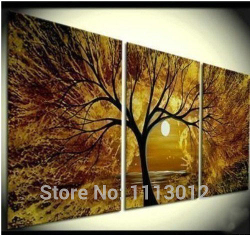 Hand Painted Abstract Home Decoration 3 Panel Browm Sun Tree Oil Painting Modern Canvas Set kitchen Wall Picture For Living Room