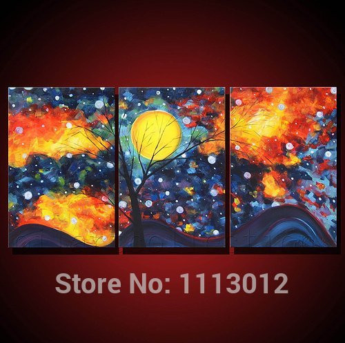 Hand Painted Modern Abstract Oil Painting Wall Art Canvas Set 3 Panel Tree Moon Home Decoration Picture For Kitchen Living Room