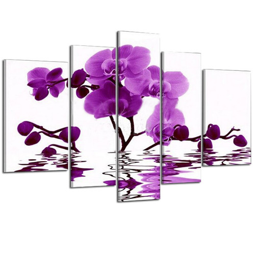 Hand Painted Orchids Artwork Abstract Flower 5 Piece Canvas Decor Picture Sets Wall Art Modern Abstract Oil Painting