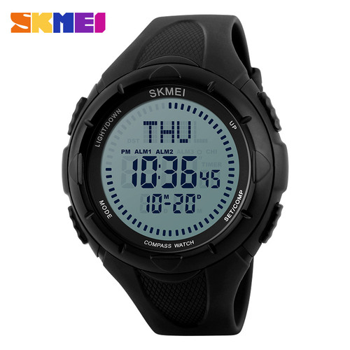 SKMEI Outdoor Compass Sports Watches Men Countdown Electronic Watch World Time Summer Time Digital Wristwatch Relogio Masculino