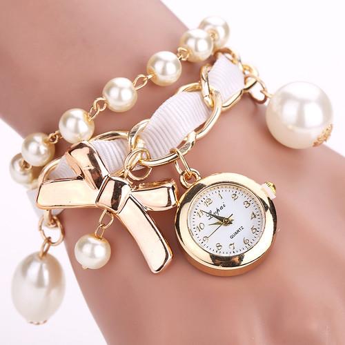Lvpai Brand Cheap Watches Women Luxury Bow Pearl Bracelet Wristwatch Women Fashion Casual Women Summer Electronics Watch LP623