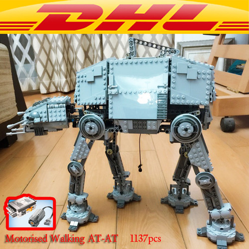LEPIN 05050 AT-AT Motorized Walking Robot Model Star Plant Building Blocks 75054 10178 action figure creator toys for children