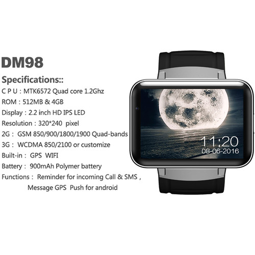 Time Owner DM98 Bluetooth Clock Smart Watch Android 4.4 OS 512MB RAM 4GB ROM Notification Support SIM Card Google Play/Map/Voice