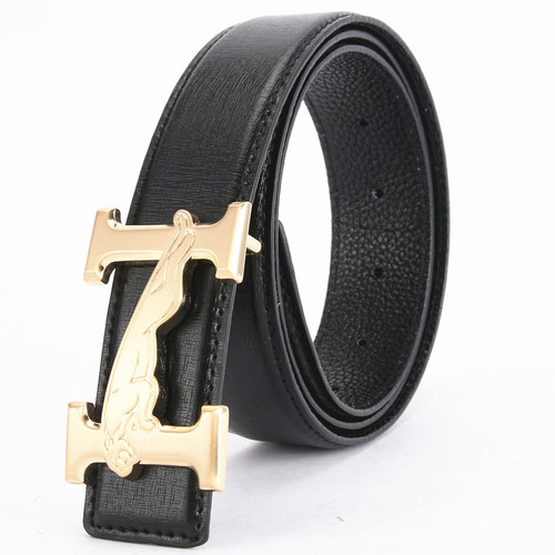 New Designer Smooth Buckle Belt Cowhide Genuine Leather Men Belt High Quality Alloy Letter H Leopard pattern Male Luxury Belts
