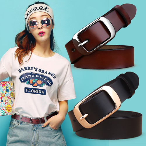 Belts for Women's strap genuine leather casual all-match Women brief leather belt women's strap belt students pure color belts