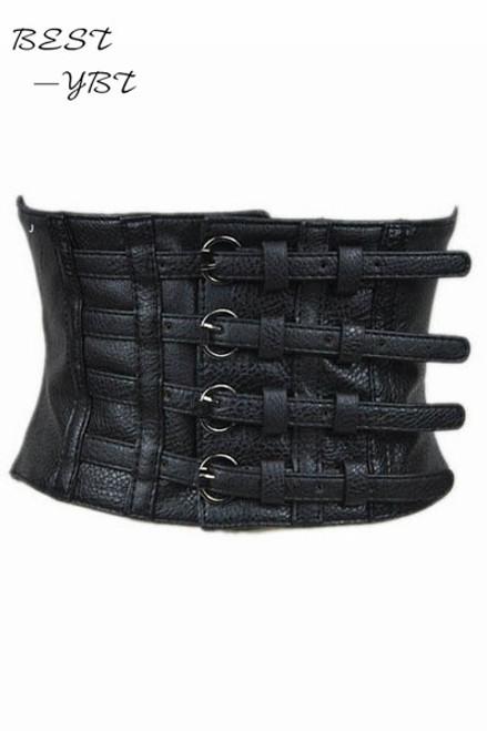 New fashion 2018 women faux leather belt pin up retro elastic wide waist belt for women black faux leather belt corset top