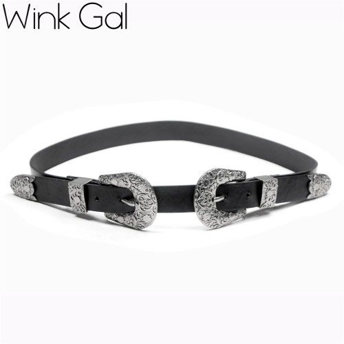Wink Gal 2017 Fashion Female Vintage Strap Metal Pin Buckle Jeans Designer Leather Belt For Women 1443