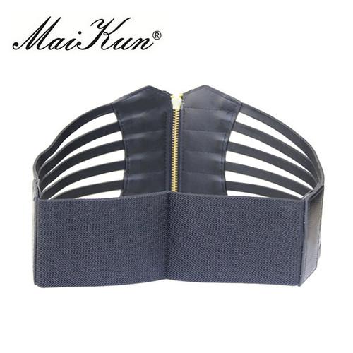 New Ultra Wide Belts for Women Adjustable Body Shape Black Faux leather Retro Design Elastic Female Strap Slim Corset Belt