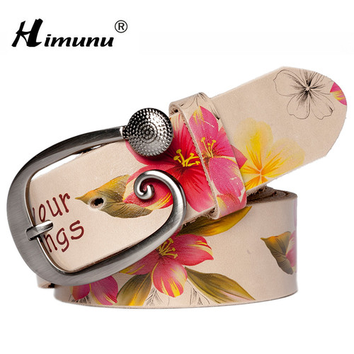 [HIMUNU]Fashion Genuine leather woman belts Pretty Floral Belt for women jeans New wide Female belts High quality Cowskin Girdle