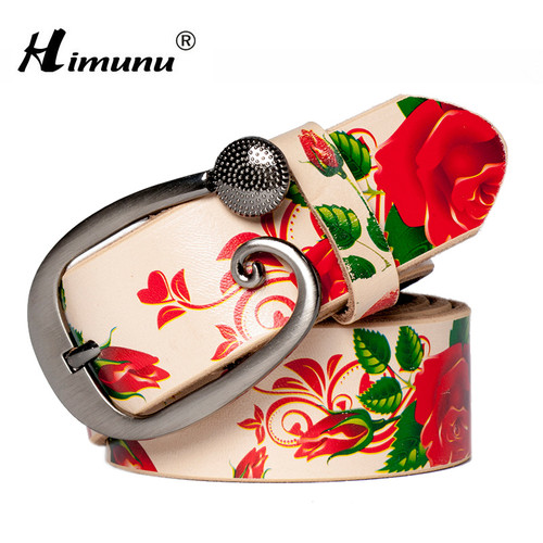 [HIMUNU]Fashion Genuine leather woman belts Pretty Floral Belt for women jeans New wide Female belts High quality Cowskin Girdle