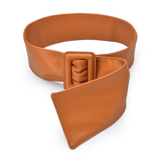 Simple Style Soft PU Leather Corset Belt For Women'S Coat Female Decorative Wide Waistband Belt Fold Cummerbund GB25