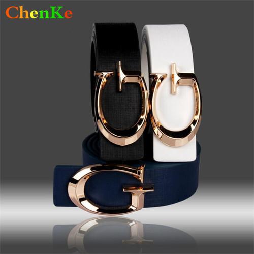 ChenKe Brand Designer Belts for Women, Fashion Letter Smooth Buckle Belts Women Men, Luxury Leather Belts for Unisex