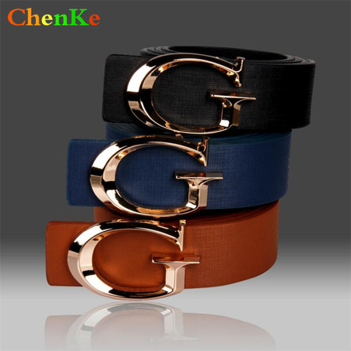ChenKe Brand Designer Belts for Women, Fashion Letter Smooth Buckle Belts Women Men, Luxury Leather Belts for Unisex