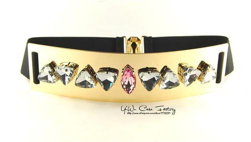 Elastic Rhinestone Mirror Metal Waist Belt  Metallic Bling Gold Plate Wide Obi Band for Women Female Accessories Dress Belts