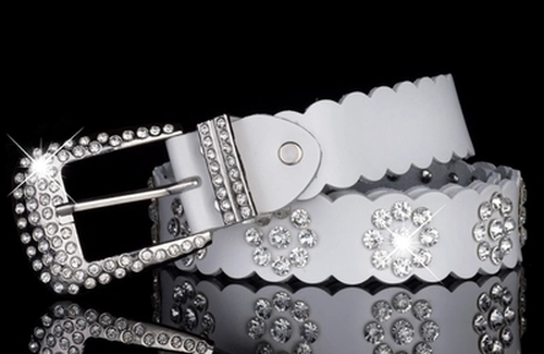 White Rhinestone Leather Belt  for Women Diamond  Crystal Cowskin Belts Genuine Real Leather Skin Straps Female Belt Waist Strap