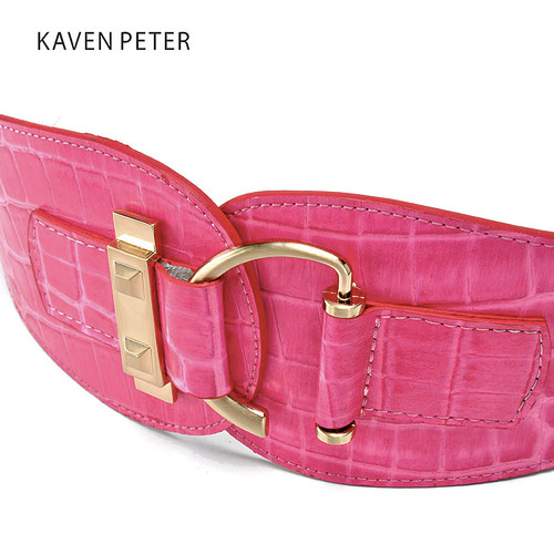Women Belt Leather Luxury Wide Metal Buckle Design Belts For Women Elastic Waist Pink Crocodile Pattern Belt Female