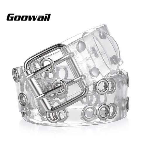 Goowail 2017 two Row Grommets Fashion Belts For Women Double Pin Buckle PVC Material strap for ladies Accessories