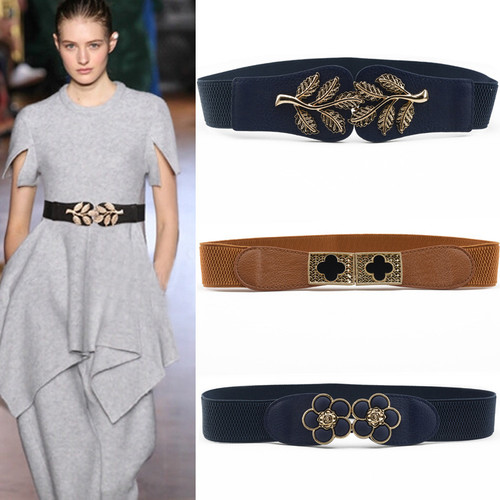 HooltPrinc New Vintage Design Belt For Women alloy Buckle Wide Elastic Stretch Waist Belt Female PU Leather Fashion Joker Belt