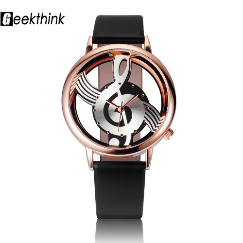 2017 GEEKTHINK Brand Unique Design Quartz Analog Hollow Musical Note Style WristWatch Woman fashion ladies Gfit Casual watch