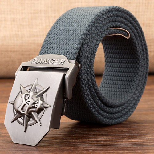 Fashion men's Canvas belt skull Metal buckle Classical tactics Woven belts Colorful Casual pirate strap Trendy Outdoor ceinture