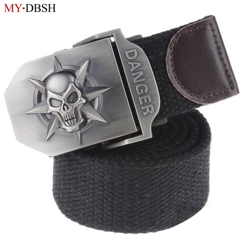 New Arrival Fashion Skull Head Men's Canvas Belt Alloy Buckle Military Belt Army Tactical Belts For Male Top Quality Men Strap