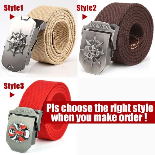 2018 Fashion 3D Skull Men's Canvas Belt Tactical Military Equipment Belt For Men Canvas Ceinture Wide Strap Strong Buckle Belts