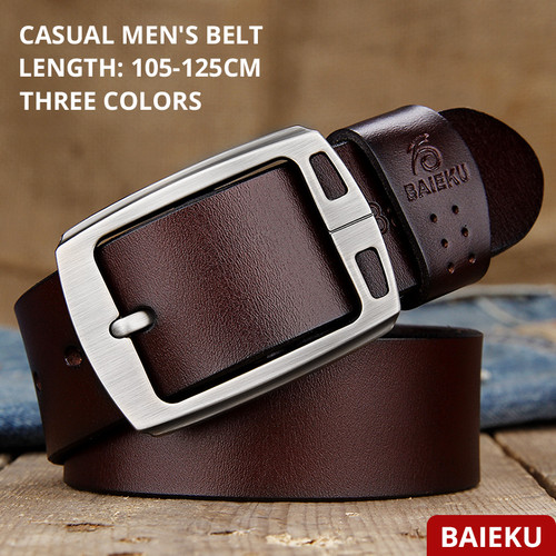BAIEKU cowhide genuine leather belts for men brand Strap male pin buckle fancy vintage jeans cintos free shipping