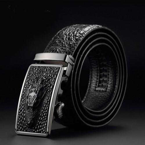 Fashion Casual Men's Leather Belts, Faux Crocodile Leather Belt Men High Quality, Crocodile Head Automatic Buckle Belt
