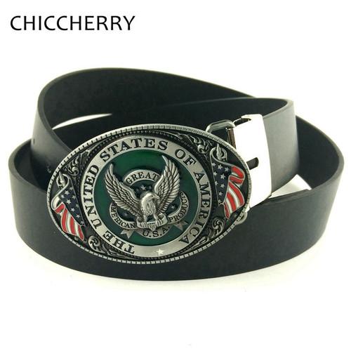 Casual Male PU Leather Belts Buckle USA Flag Eagle American Metal Fivela Cowboy Cintos Masculinos Ceinture Man For Men Jeans