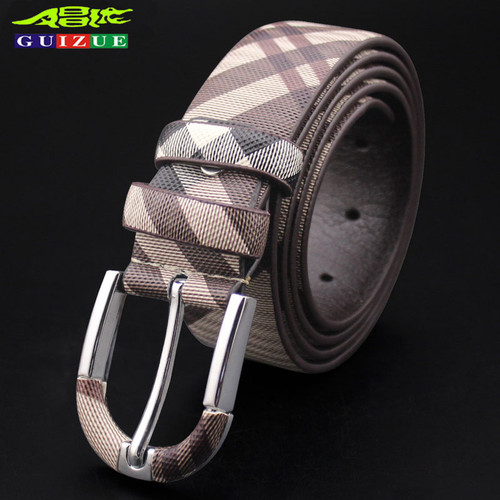 Genuine GUIZUE Fashion Cow Real Leather Belt Men 2017 New Style Casual Belts For Women Pin Buckle 110-130cm Waist Strap Cinto